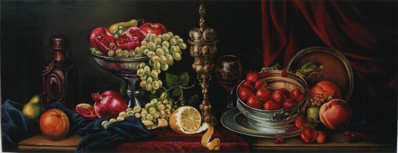 Натюрморт с гранатами и виноградом
